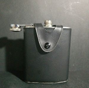 Stainless Steel Whiskey Flask Black Leather Flask